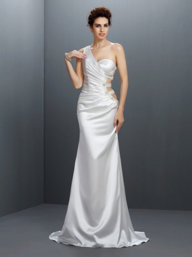 Trumpet/Mermaid One-Shoulder Beading Sleeveless Long Elastic Woven Satin Dresses