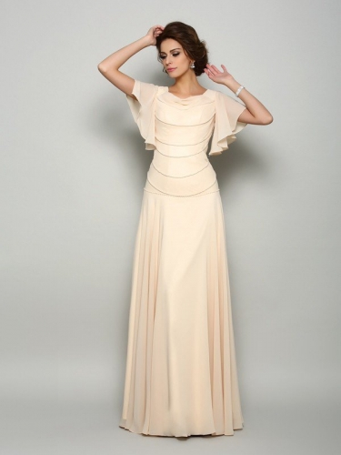 A-Line/Princess Square Beading Short Sleeves Long Chiffon Mother of the Bride Dresses