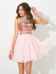 A-Line/Princess Sheer Neck Sequin Sleeveless Short Chiffon Cocktail Dresses...