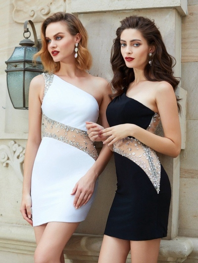 Sheath/Column Sleeveless One-Shoulder Beading Sleeveless Short/Mini Net Dresses [63053]