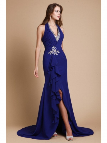 Trumpet/Mermaid V-neck Long Sleeveless Beading Chiffon Dresses