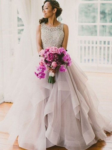 Ball Gown Sleeveless Scoop Beading Sweep/Brush Train Organza Wedding Dresses