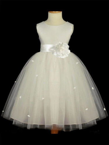 A-line/Princess Scoop Sleeveless Hand-made Flower Long Tulle Flower Girl Dresses