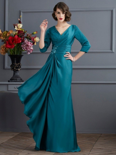 A-Line/Princess V-neck 3/4 Sleeves Beading Long Chiffon Mother of the Bride Dresses