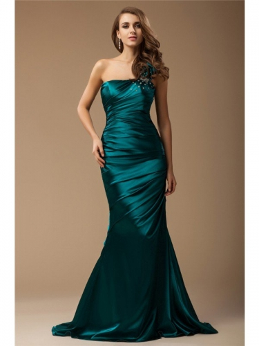 Trumpet/Mermaid One Shoulder Sleeveless Long Ruffles Beading Elastic Woven Satin Dresses