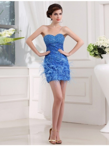 Sheath/Column Beading Sweetheart Sleeveless Short Organza Bridesmaid Dresses