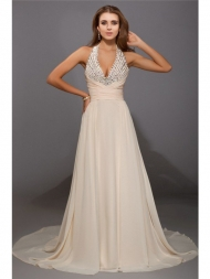 Sheath/Column V-neck Beading Sleeveless Long Chiffon Dresses