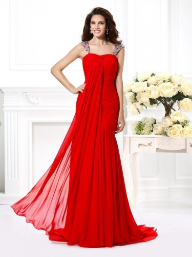 Trumpet/Mermaid Straps Beading Rhinestone Sleeveless Long Chiffon Dresses