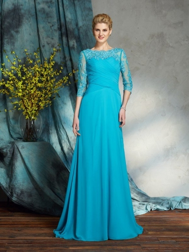 A-Line/Princess Bateau Applique 3/4 Sleeves Long Chiffon Mother of the Bride Dresses