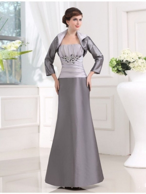 Beading Strapless Sleeveless Taffeta Long Applique Mother of the Bride Dresses
