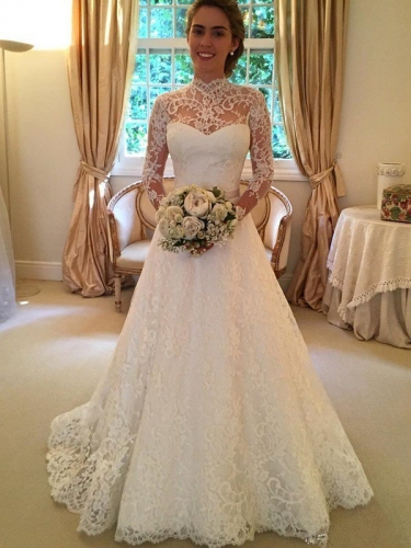 Ball Gown High Neck Long Sleeves Lace Court Train Wedding Dresses