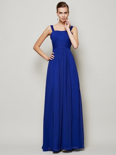 Sheath/Column Straps Sleeveless Pleats Long Chiffon Bridesmaid Dresses