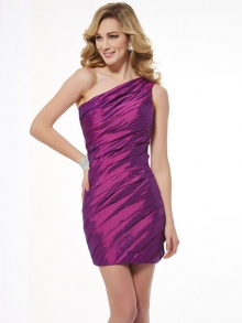 Sheath/Column One-Shoulder Sleeveless Ruched Short Taffeta Homecoming Dresses