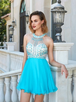 A-Line/Princess Halter Beading Sleeveless Chiffon Short/Mini Dresses
