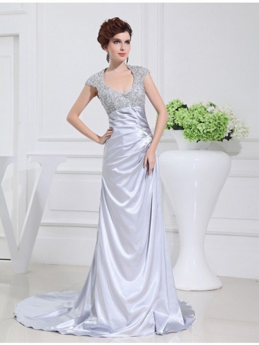 A-Line/Princess Scoop Long Beading Lace Elastic Woven Satin Dresses