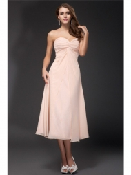 Sheath/Column Sweetheart Ruffles Sleeveless Tea Length Chiffon Bridesmaid Dresses