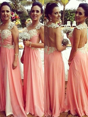 A-Line/Princess Straps Sleeveless Chiffon Applique Floor-Length Bridesmaid Dresses