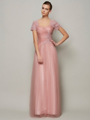 A-Line/Princess Sweetheart Short Sleeves Beading Long Satin Dresses