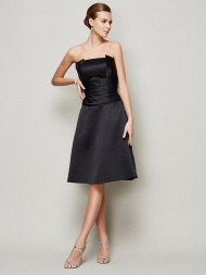 A-Line/Princess Strapless Sleeveless Pleats Short Satin Bridesmaid Dresses