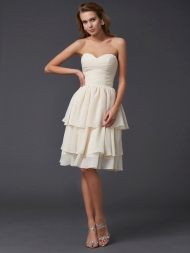 Sheath/Column Sweetheart Sleeveless Short Chiffon Bridesmaid Dresses