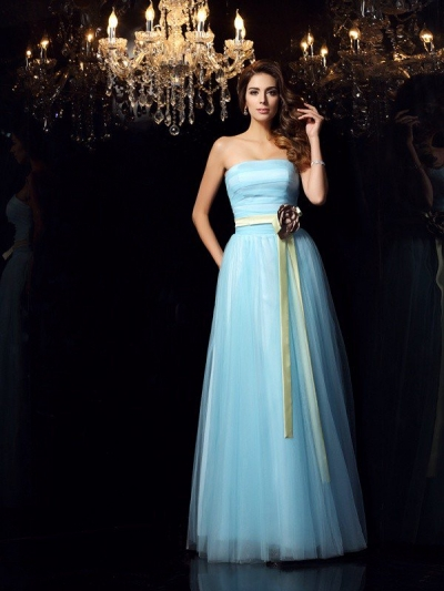 Ball Gown Strapless Sash/Ribbon/Belt Sleeveless Long Satin Quinceanera Dresses [50595]
