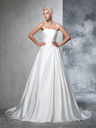 Ball Gown Strapless Ruched Sleeveless Long Satin Wedding Dresses
