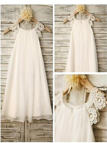 A-line/Princess Scoop Sleeveless Lace Floor-Length Chiffon Flower Girl Dresses