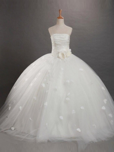 Ball Gown Strapless Ruffles Sleeveless Long Organza Flower Girl Dresses
