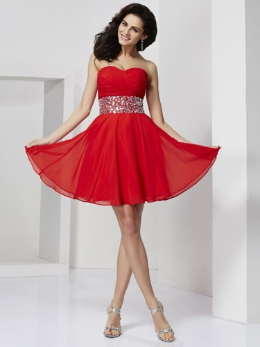 A-Line/Princess Sweetheart Sleeveless Rhinestone Short Chiffon Homecoming Dresses