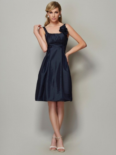 A-Line/Princess Straps Sleeveless Pleats Short Taffeta Bridesmaid Dresses