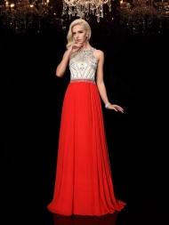 A-Line/Princess Scoop Beading Sleeveless Long Chiffon Dresses...