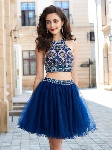 A-Line Princess Jewel Sleeveless Beading Short Mini Net Dresses 5ea4518b5