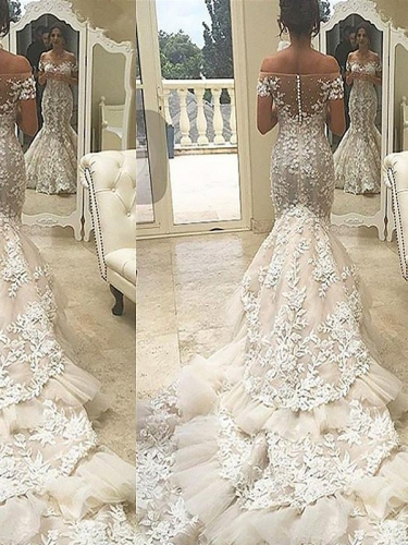Trumpet/Mermaid Short Sleeves Tulle Off-the-Shoulder Chapel Train Wedding Dresses