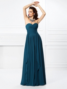 A-Line/Princess Sweetheart Pleats Ruffles Sleeveless Long Chiffon Bridesmaid Dresses
