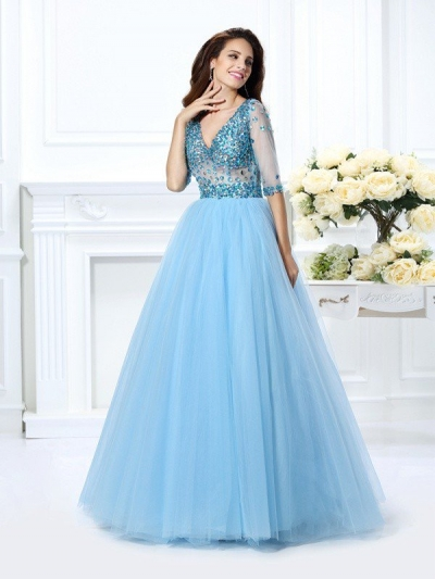 Ball Gown V-neck Beading 1/2 Sleeves Long Satin Quinceanera Dresses