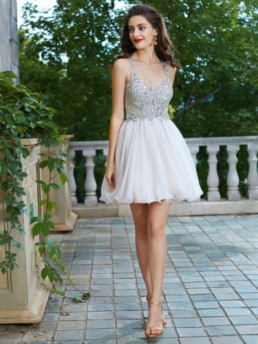 83b37e01a3 A-Line Princess Straps Sleeveless Rhinestone Short Mini Chiffon Dresses