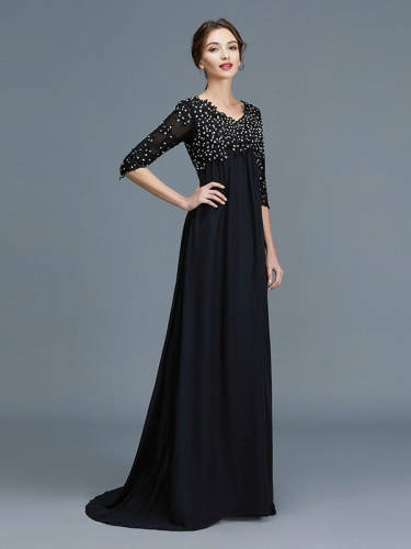 f4c56dfcdf0 A-Line Princess Sweetheart Applique 1 2 Sleeves Long Chiffon Mother ...