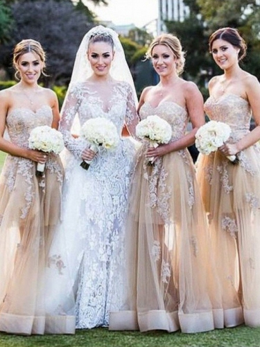 A-Line/Princess Sweetheart Sleeveless Applique Tulle Bridesmaid Dresses