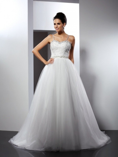A-Line/Princess Spaghetti Straps Beading Sleeveless Long Tulle Wedding Dresses