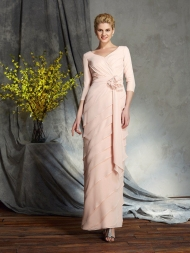 Sheath/Column V-neck Hand-Made Flower 3/4 Sleeves Long Chiffon Mother of the Bride Dresses
