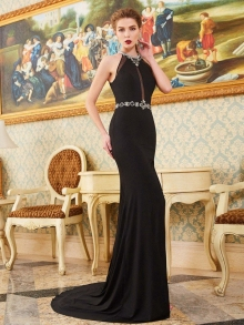 Sheath/Column High Neck Sleeveless Sweep/Brush Train Beading Spandex Dresses