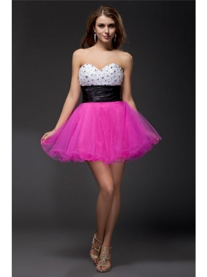 A-Line/Princess Sweetheart Beading Sash Sleeveless Short Organza Elastic Woven Satin Cocktail Dresses