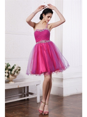 A-Line/Princess One-Shoulder Sleeveless Beading Short Organza Cocktail Dresses