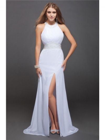 Sheath/Column Jewel Sleeveless Beading Ruffles Long Chiffon Dresses [N13ZYDRESS56]