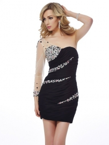 Sheath/Column One-Shoulder Sleeveless Beading Short Chiffon Homecoming Dresses