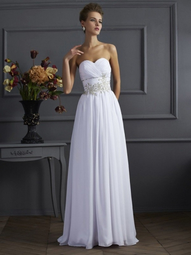 A-Line/Princess Sweetheart Sleeveless Beading Long Applique Chiffon Dresses
