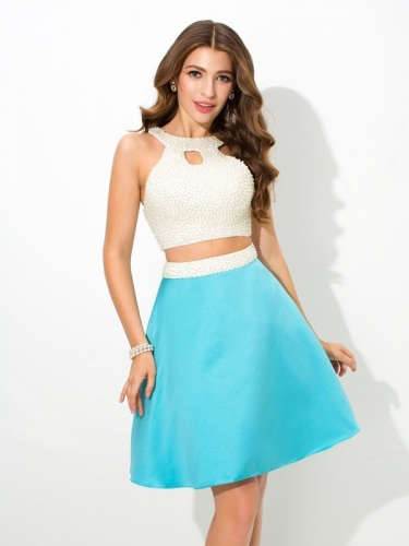 A-Line/Princess Jersey Beading Sleeveless Short Satin Two Piece Dresses