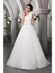 A-Line/Princess One-Shoulder Sleeveless Beading Long Organza Wedding Dresses...