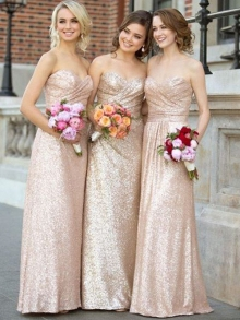 A-Line/Princess Sweetheart Sleeveless Floor-Length Sequins Bridesmaid Dresses