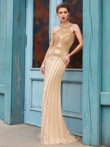 Sheath/Column High Neck Sleeveless Sweep/Brush Train Beading Net Dresses